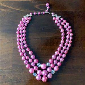 Vintage Pink Purple AB Crystal 3 Strand Necklace